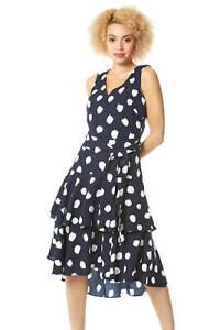 Roman-Originals-Women-Spot-Frill-Tired-Belted-Dress