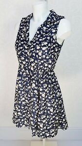 MISO-floral-navy-blue-white-sleeveless-Classic-collar-Mini-skater-flare-dress-8