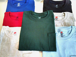 ee0e9784 Men Hanes Comfort Blend Pocket T Shirt Short Sleeve Tagless Crew ...