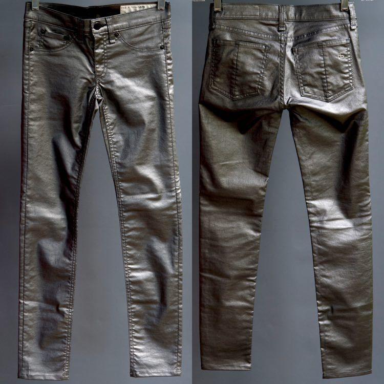 Rag & Bone Pewter Metallic Skinny Jeans Legging Pants NWT New Orig  sz 24 XS