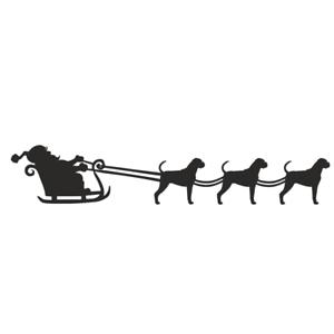 Boxer Dog Metal Christmas Santa Sleigh