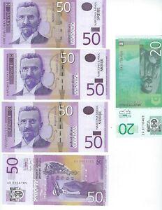 SERBIA-4-PCS-50-DINAR-2005-AND-1-20-DINAR-034-za-034-REPL-5-PCS-LOT-UNC