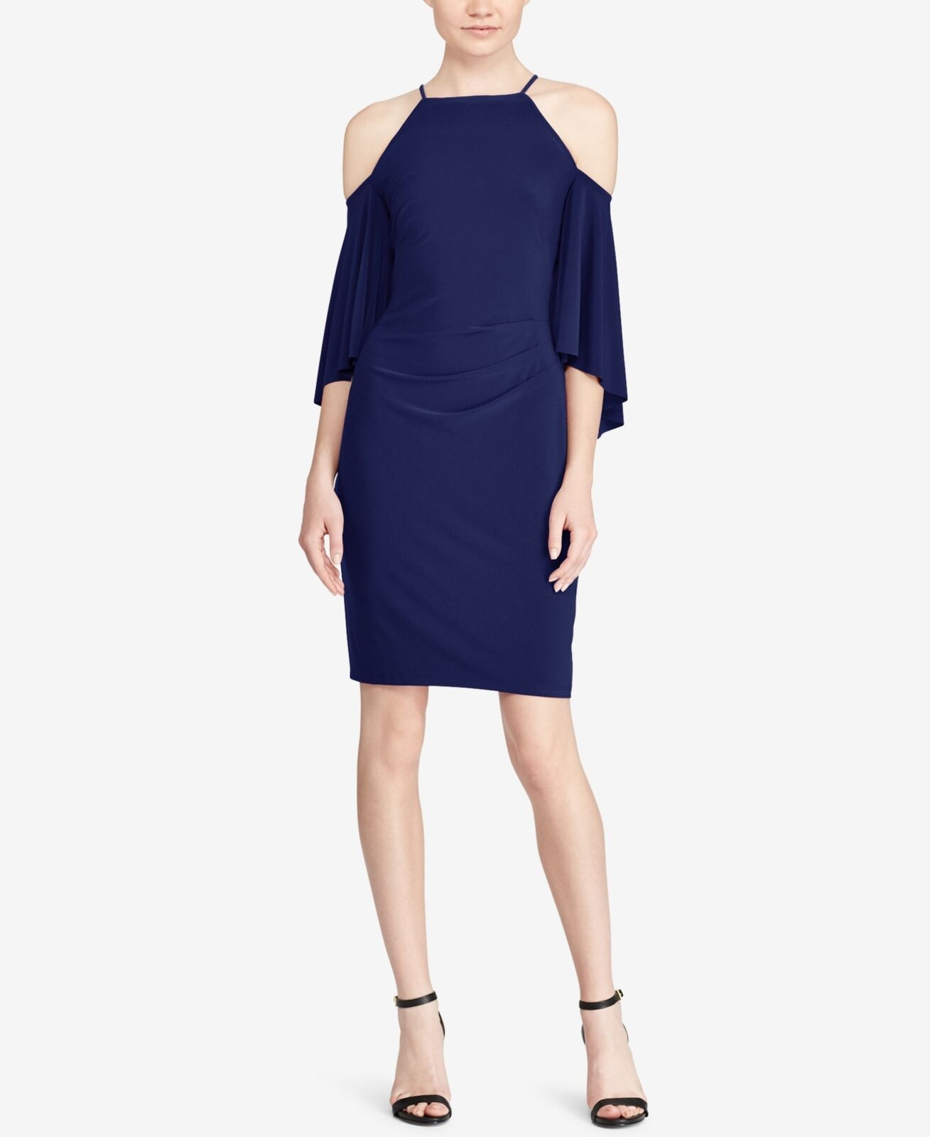Ralph Lauren (N8224-72) Bell-Sleeve Cold-Shoulder Jersey Dress Blau Sz 16