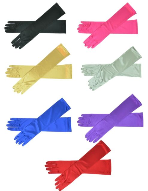 "22"" Long Satin Stretch Gloves Above Elbow Bridal Prom Wedding Formal 9 Colors"