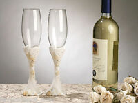Beach Theme Toasting Glasses Wedding Flutes Seashell