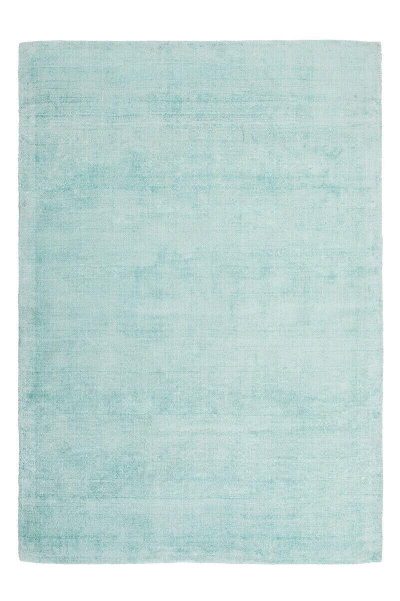 Improvisée Plat Tapis Viscose Uni Tapis Coton Bleu Sarcelle 80x150cm