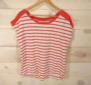 Lucky-Brand-Women-039-s-Sz-L-T-shirt-Orange-Ivory-Striped-Lace-Short-Sleeve-Top