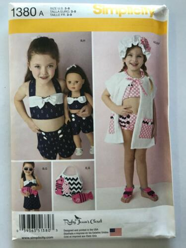 Simplicity Sewing Pattern 1380 Toddler Girls Swimsuit Play Suit Hat Size 3-8 UC