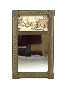 Antique Federal Style Eglomise Mirror Gold Painted With Framed Winter Scene