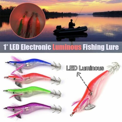 Flashing LED Fishing Lure Flash Light 10cm Minnow Luminous Squid Jig Shrimp Bait