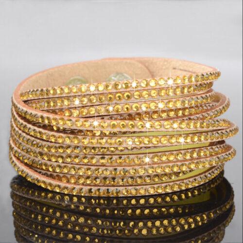 Wickelarmband Gold Strass Damen Armband Slaker Glitzer Geschenk Bracelet Trendy