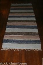 Erthy Colored Antique and Handmade Swedish Rag Rug ( 30.5x91 inches)