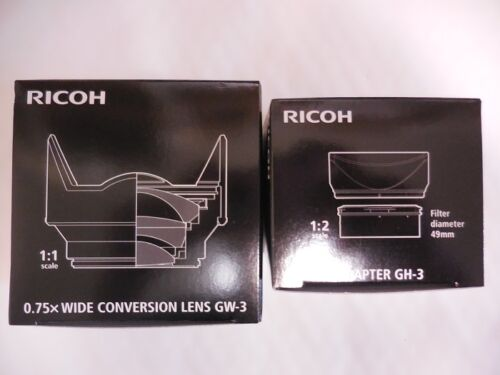 RICOH GW-3 Wide Angle Conversion Lens /& GH-3 set from Japan hood /& adapter