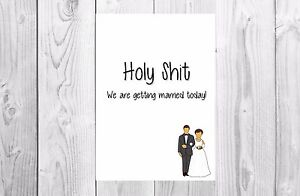 on our wedding day card humour funny congratulations husband wife to