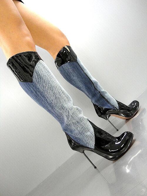 MORI ITALY HOT KNEE HEELS botas botas botas botas botas azul JEANS LEATHER negro negro 36  n ° 1 en línea