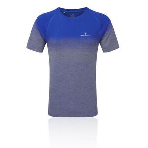 Ronhill-Uomo-INFINITY-MARATONA-manica-corta-T-Shirt-Tee-Top-blu-Sport-Running