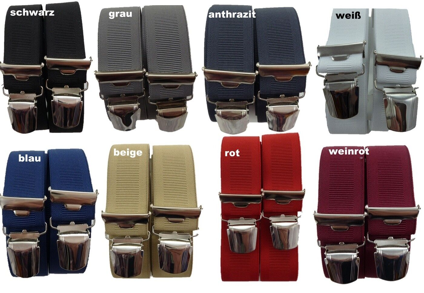 eleganter Herrenhosenträger, 35mm breit, 4 extra starke ABC-Clips, Blitzversand