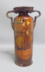 Royal-Doulton-Kingsware-Two-handled-vase-with-drinking-MONK-design-1934