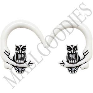 0682-Spiral-Owl-Taper-Expander-Stretcher-Plugs-Gauges-Hoops-00G-10mm-White-Black