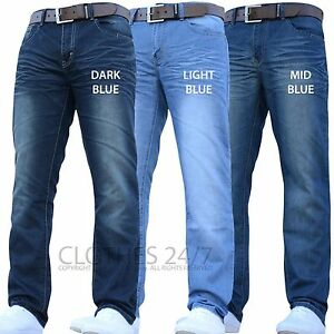 Mens-Crosshatch-Branded-Designer-Regular-Fit-Straight-Leg-Denim-Jeans-Pants-Size