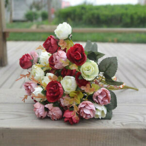42-Head-2-Bouquets-Artificial-Rose-Silk-Flower-Bouquet-Home-Wedding-Decor-Cool