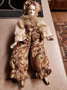 "Vintage Porcelain Harlequin Jester Doll Figurine 14"" Mardi Gras? Clown Costume"