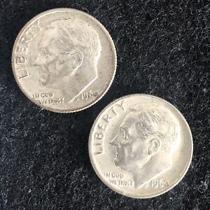 Lot-Of-2-Roosevelt-Dimes-1964-D-1964-P-90-SILVER-Aprox-4-Grams