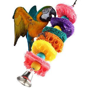 Mascota Jaula Loro Cacatúa NINFA Pájaro MORDER JUGAR Loofah Esponja para Juguete