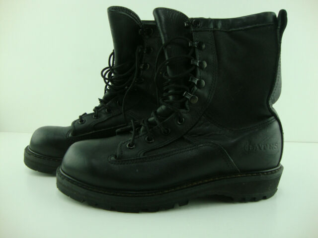 black leather combat boots mens