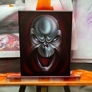 034-Laughing-Skull-034-Original-airbrush-art-on-canvas-Stretched-Skull-Skeleton