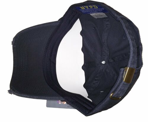 NYPD Baseball Hat New York Police Department Distressed White Logo Navy Blue