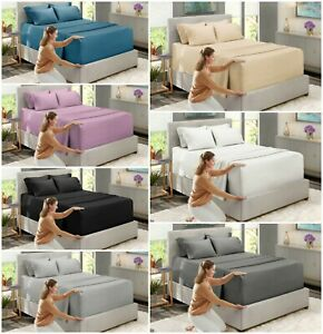 Extra-Deep-Fitted-Sheet-King-Size-4FT-Small-Double-Single-Egyptian-Cotton-Bed