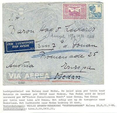 Dutch Indies 1931 8 20 Malang Austria Combi Ship Train Plane F Vf Ebay