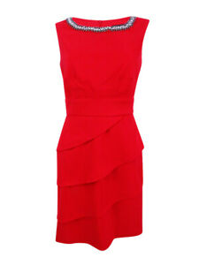 Connected-Women-039-s-Embellished-Tiered-Sheath-Dress-12-Red