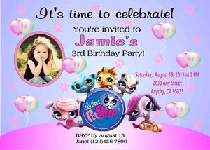 Details About Littlest Pet Custom Printable Birthday Party Invitation Free Ty Card