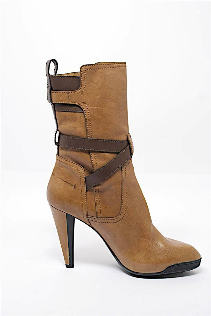 TOD'S Tan Leather Mid-Calf Boots w/Chocolate Straps & Buckles-FAB-NWOB-41/US10.5