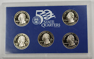 2005 S State Quarter Set 5 Coins Total In Hard Plastic