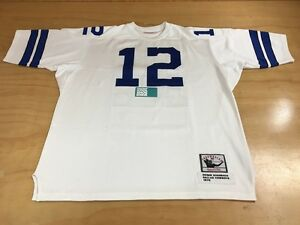 los angeles 8df6d 64d16 Details about Mitchell & Ness NFL Dallas Cowboys #12 Roger Staubach  Football Jersey White Blue