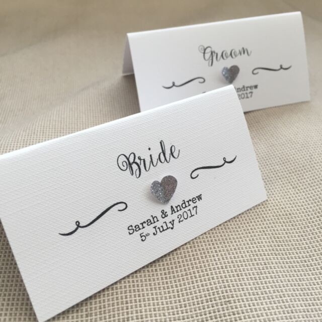 Wedding Name Cards.10 Handmade Personalised Name Place Cards Vintage 3d Heart Diff Colours Wedding