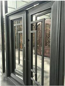 Image is loading Stunning-Wrought-Iron-Entry-Doors-with-glass-72- & Stunning Wrought Iron Entry Doors with glass 72