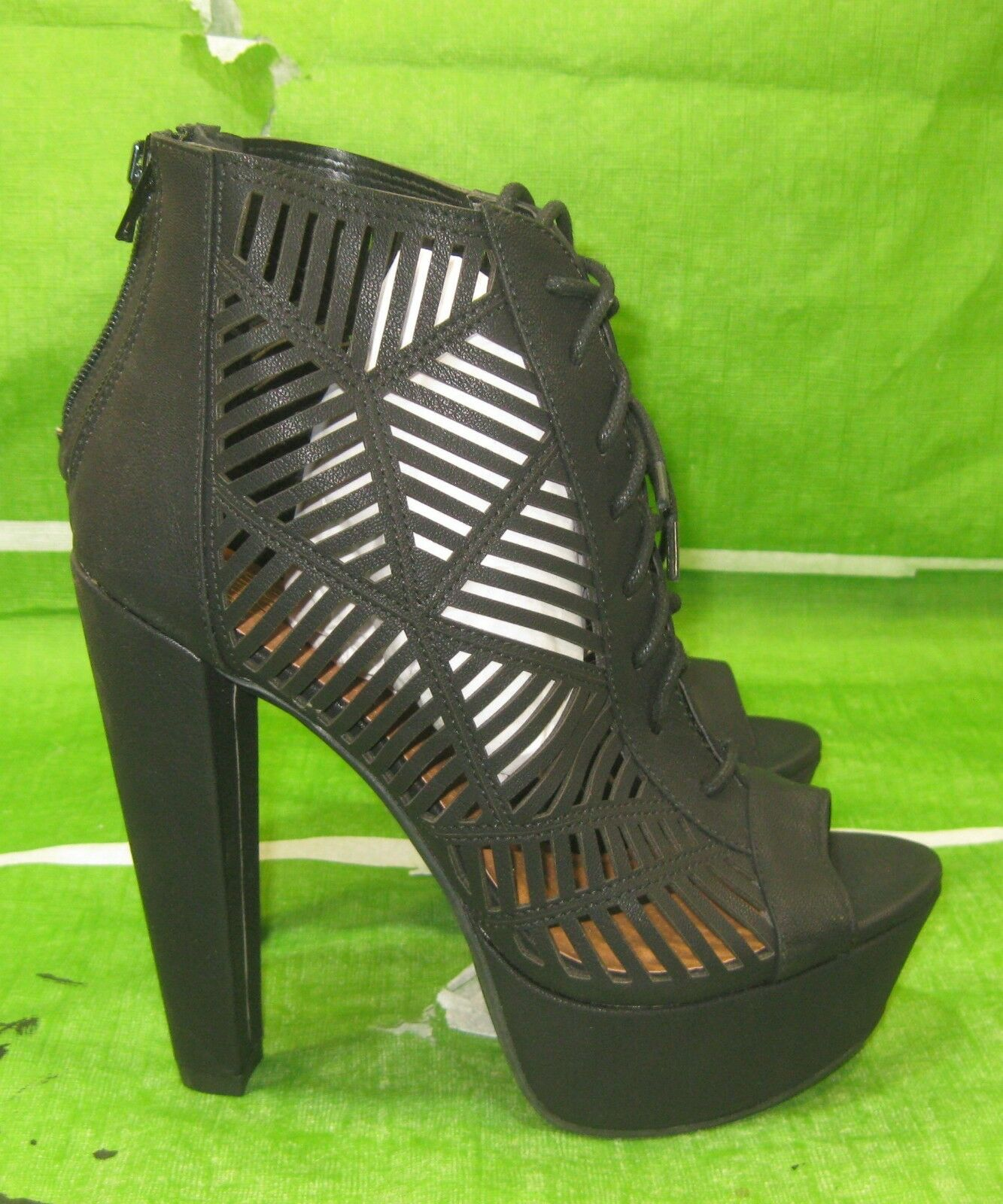 New Black 5.5 block High Heel 1.5 Platform Open Toe lace up Sexy shoes Size  6