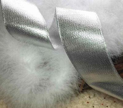 1m X 63mm Cablato Natale Nastro D'argento Glitter Fiocchi Luccicanti Regali Torta Fiorista-