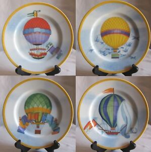 Set-of-4-Salad-Plates-Williams-Sonoma-Montgolfiere-Pattern-4-Balloon-Designs