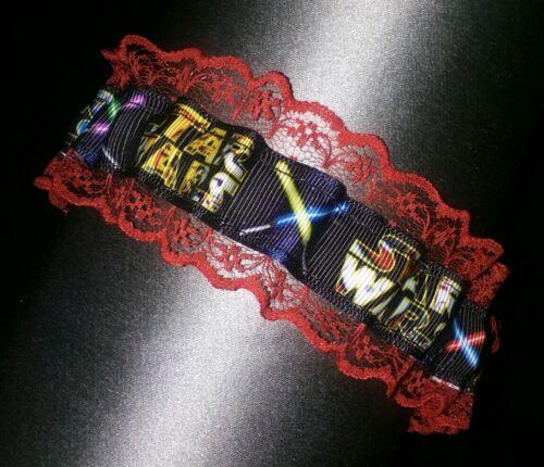 new Star wars wedding garter bright red lace wedding garter
