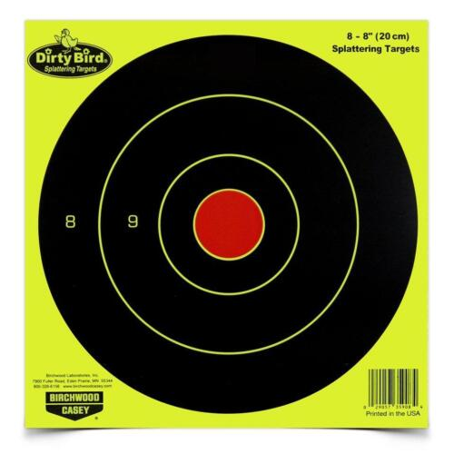 "Pkg of 8 Birchwood Casey 8/"" Chartreuse Dirty Bird Bullseye Splattering Targets"