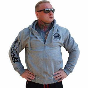 "Brachial Zip-Hoody /""Solid/"" anthrazit Sweatjacke Bodybuilding Fitness grau"