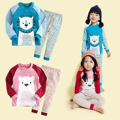 "Vaenait Baby Toddler Kid Girl Boy Clothes Pajama Set ""Polar Leo friend"" 12M-7T"