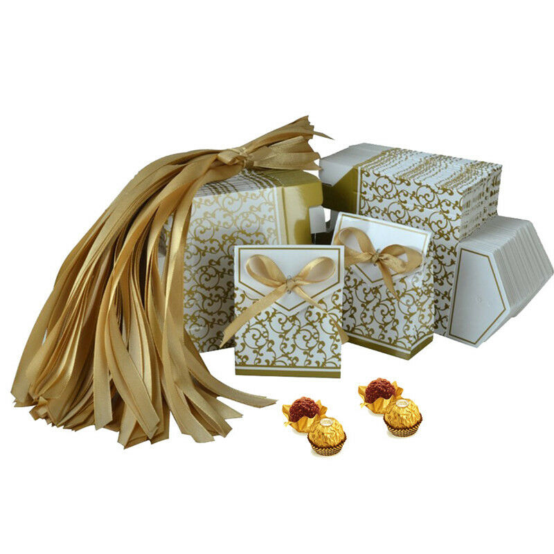 Bustina Wedding Favour Boxes Gold Silk Pk 10 Flat Packed Without Decorations For Sale Online Ebay