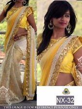 Attractive  Designer Latest  Yellow & Cream Color Half & Half Saree