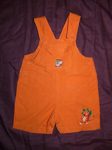 Salopette-courte-orange-Hippo-Lipo-en-denim-100-coton-bebe-garcon-12-mois-TBE